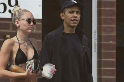 Miley Cyrus con Barack Obama