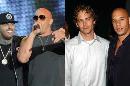Vin Diesel con Paul Walker y con Nicky Jam en collage a través de Getty Images.