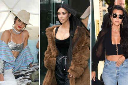 Collage Kendall Jenner, Kim Kardashian, Kourtney Kardashian