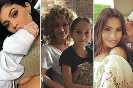 Collage Kylie Jenner, Jennifer Lopez, Sofía Vergara y Joe Mangianello