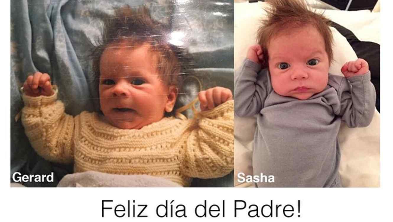 Gerard Piqué y Sasha Piqué de bebé