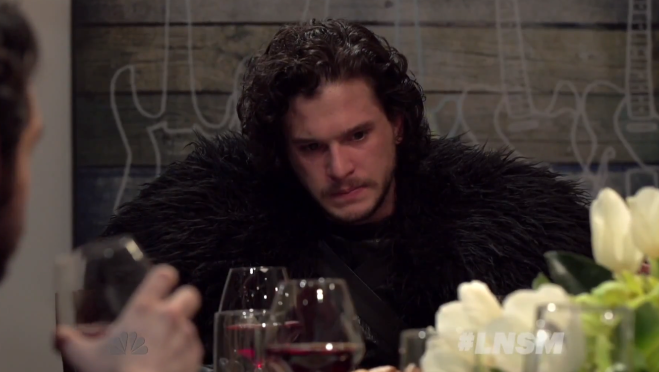 Jon Snow del progama Game Of Thrones en Late Night with Seth Myers