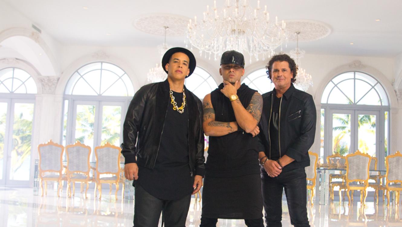 Daddy Yankee, Wisin y Carlos Vives durante la grabación de su video Nota de Amor