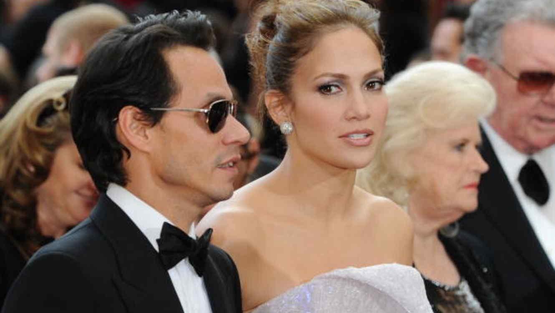 Jennifer López y Marc Anthony,  llegada de los Premios Oscar, 2010
