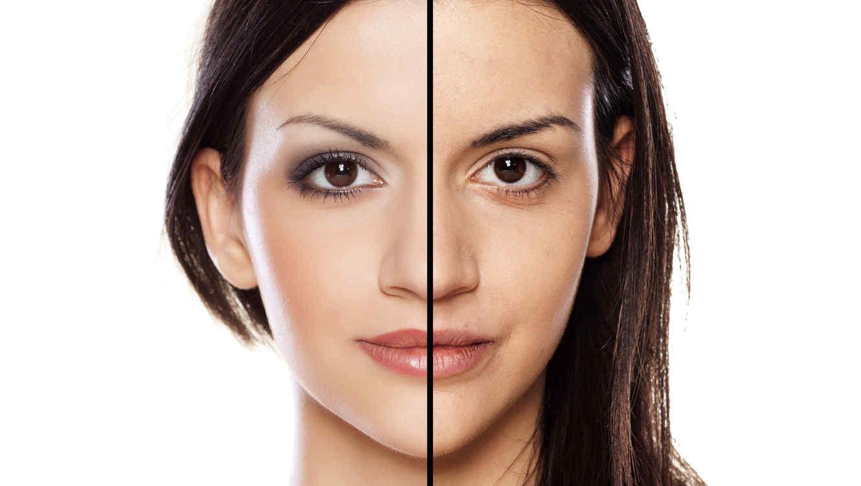 Foto de mujer con y sin maquillaje
