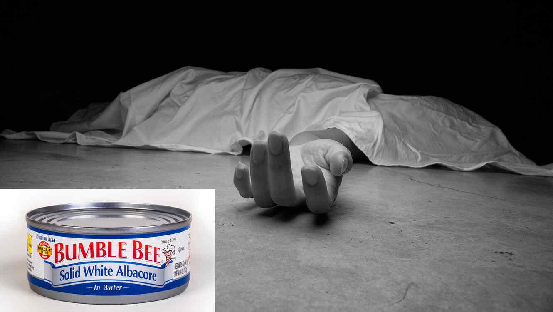 Hombre muerto y lata de atún