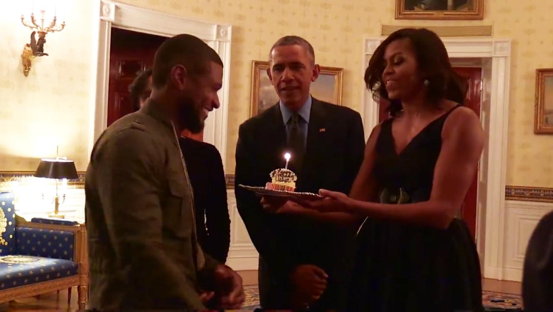 Presidente Obama y la primera dama le cantan cumpleaños a Usher