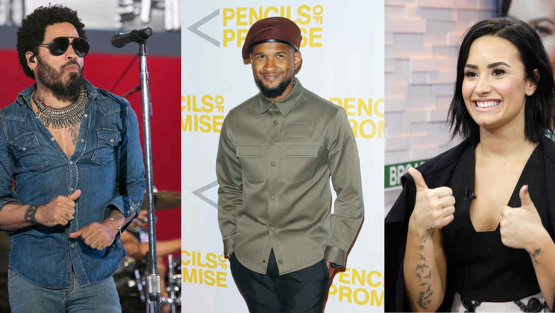 Lenny Kravitz, Usher y Demi Lovato en eventos en 2015