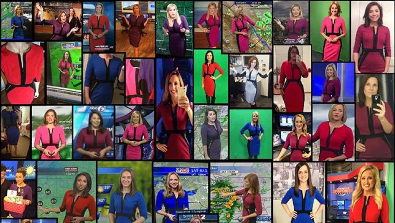 Collage de fotos de varias presentadoras vistiendo el mismo vestido
