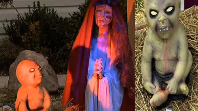 Familia atea hace pesebre zombie