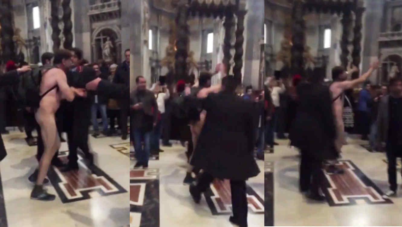 Hombre desnudo entra a la Basílica de San Pedro