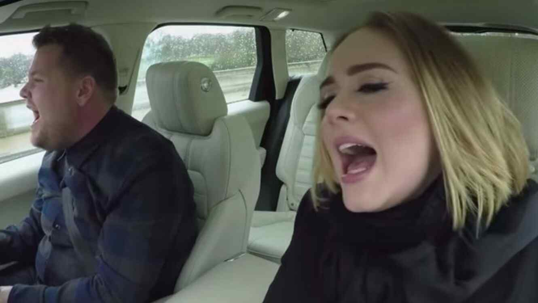 James Corden y Adele durante la sesión Carpool Karaoke