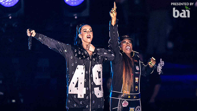 Katy Perry y Missy Elliot en el Super Bowl del 2015