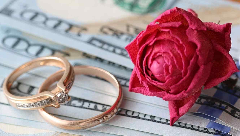 Dos sortijas de matrimonio doradas y una rosa roja sobre billetes