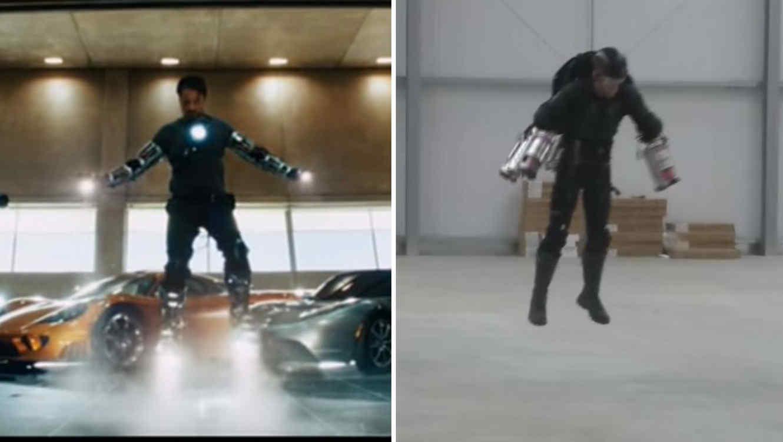 Iron Man probando su traje e inventor probando el suyo