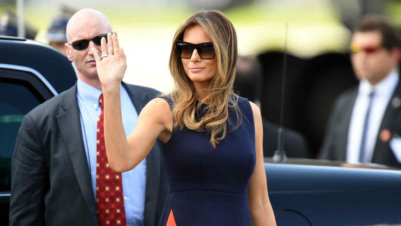 Melania Trump llegando a Polonia