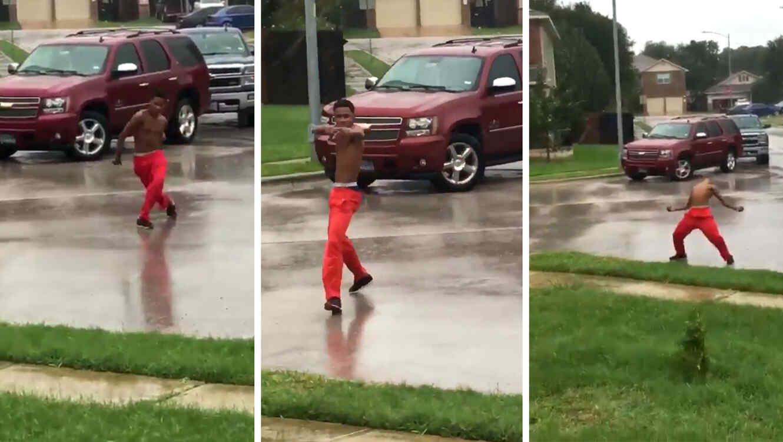 baile deandre wilson?itok=1Hbw0r5k inspiró una batalla de baile bajo la lluvia causada por el huracán