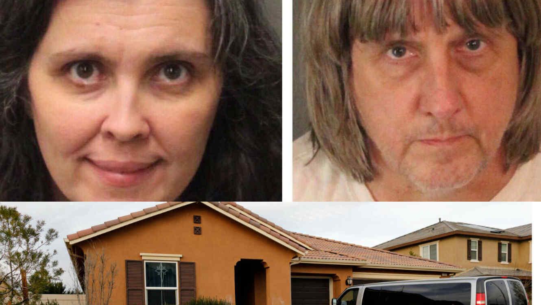La pareja Turpin arriba y la casa donde tenían secuestrados a sus 13 hijos abajo.