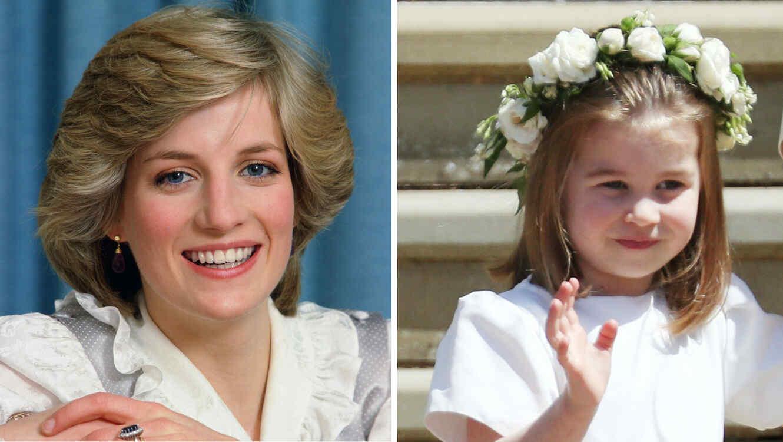 Collage princesa Diana y princesa Charlotte sonriendo