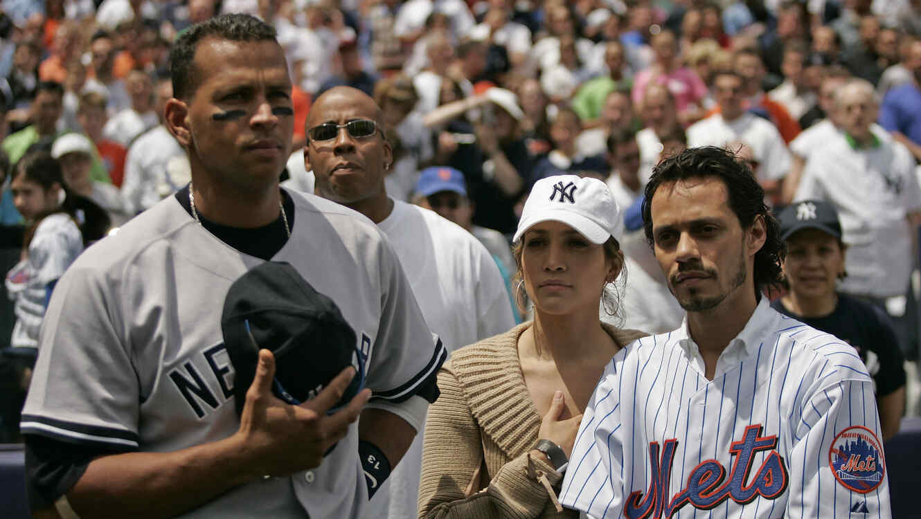 Alex Rodriguez con Jennifer Lopez y Marc Anthony en 2005