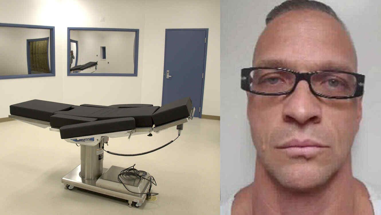 Cámara de ejecuciones con inyección letal de Nevada. A la derecha, foto sin data de Raymond Dozier.