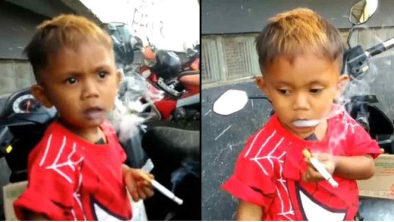Sus papás se reían: niño de 2 años fuma 40 cigarros diarios