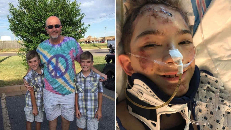 """Gerard """"Jerry"""" Greenough salvó a su nieto Austyn cubriéndolo con su cuerpo mientras su vehículo cahía de un acantilado."""