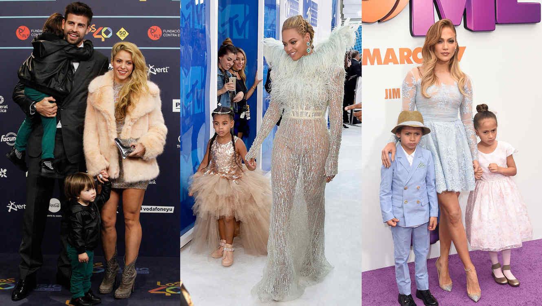 Collage celebridades con sus hijos