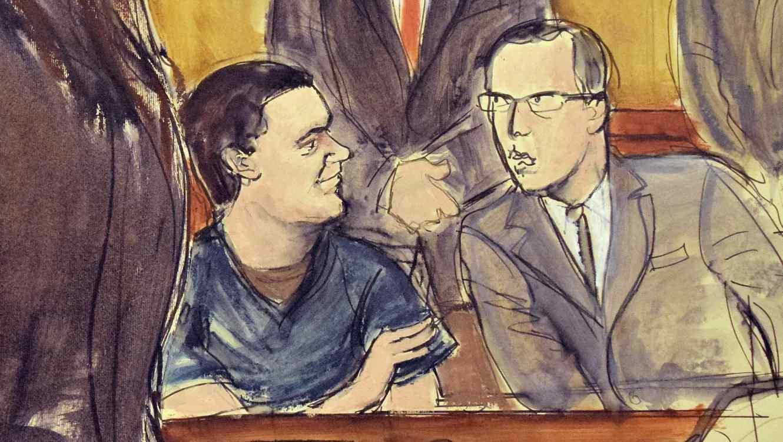 Dibujo de la corte en la que aparece El Chapo con uno de sus abogados mientras la fiscal expone su caso ante el juez.