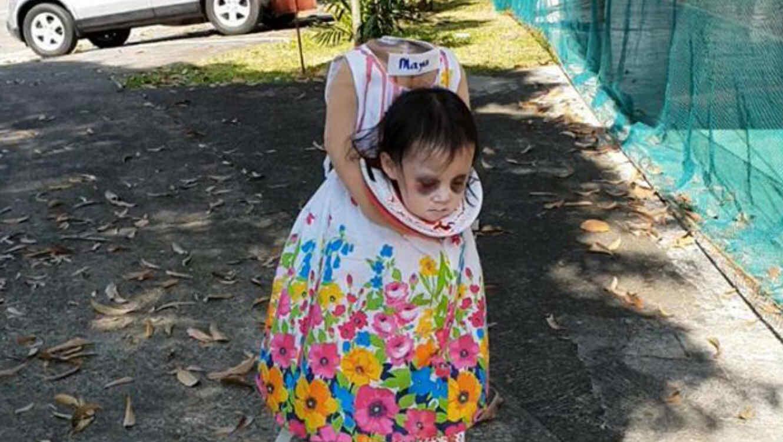 Disfraz de niña sin cabeza