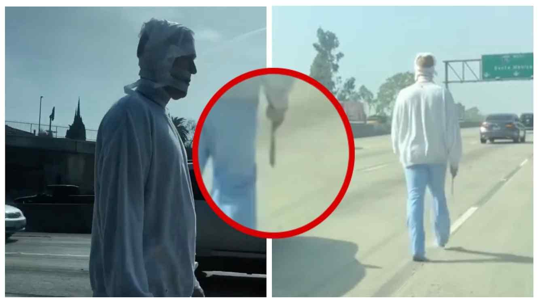 El hombre fue llevado atrapado por las autoridades.