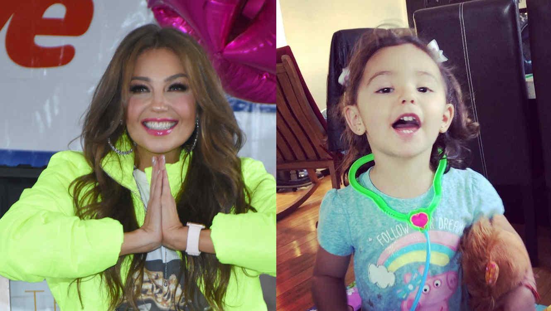 Thalía y niña