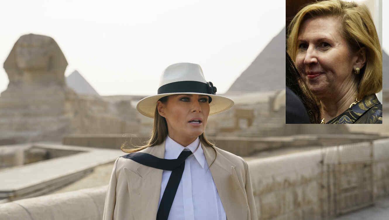Melania Trump, en octubre durante su visita a Egipto. A la derecha, imagen de archivo de Mira Ricardel.