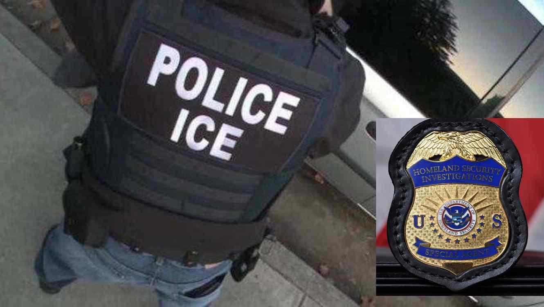 Un agente de ICE y una placa de la agencia federal.