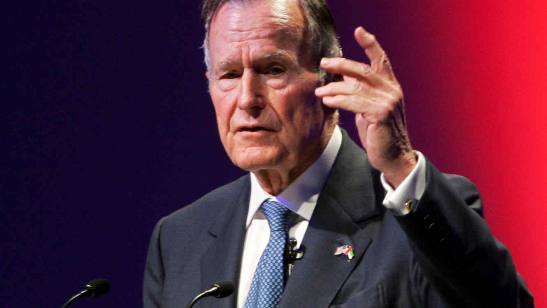 FILE PHOTO: Former U.S. President George H.W. Bush speaks at the World Leadership Summit in Abu Dhabi