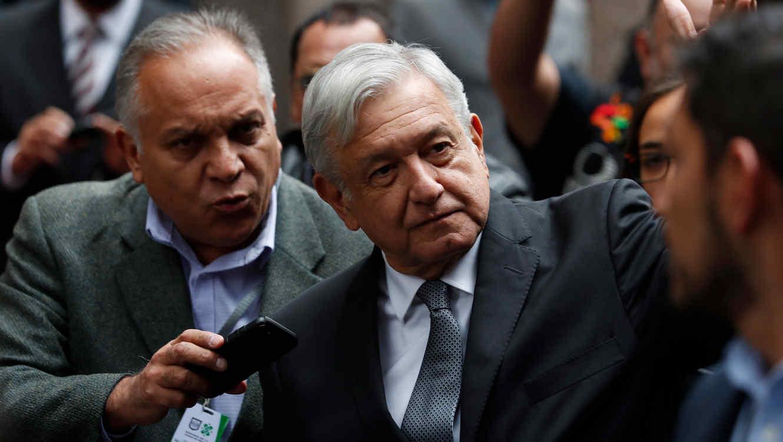 El presidente Andrés Manuel López Obrador en la ceremonia de inauguración de la nueva alcaldesa de Ciudad de México el 5 de noviembre de 2018
