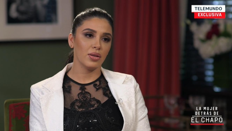 Emma Coronel, la esposa del narcotraficante Joaquín, El Chapo, Guzmán, durante su entrevista con Telemundo