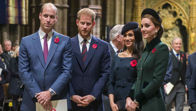 El príncipe William, el príncipe Harry, Meghan Markle y Kate Middleton