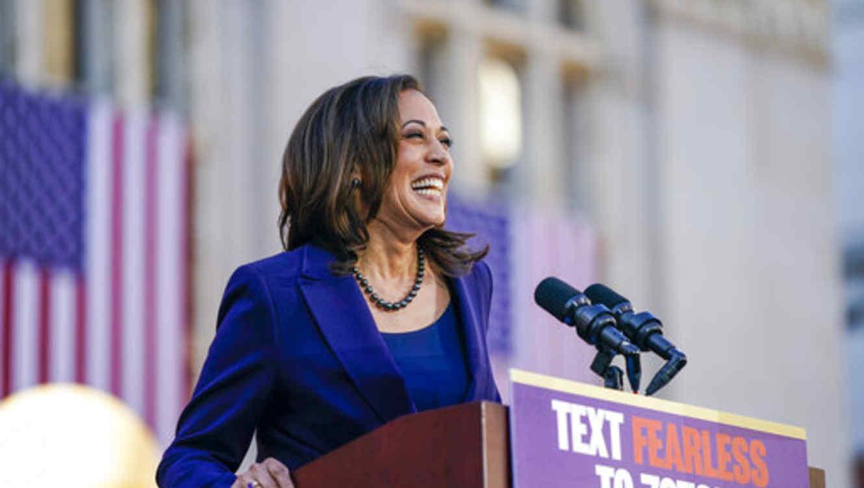 La senadora demócrata de California, Kamala Harris, of California, durante un discurso que forma parte de su campaña presidencial para el 2020.