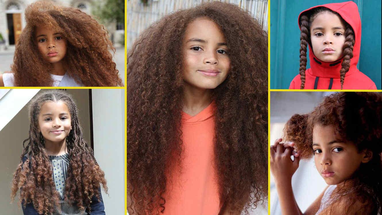 Farouk James modelo de 7 años con el cabello largo