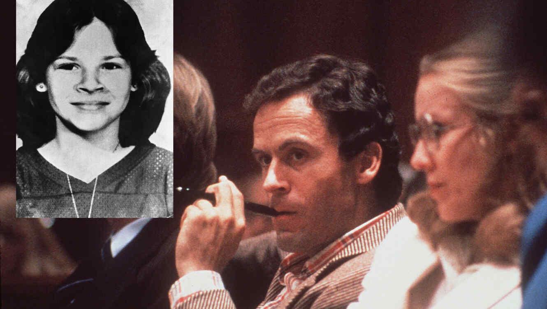 Ted Bundy, durante el juicio en Miami (Florida) en 1979. A la izquierda, una de sus víctimas, Kimberly Leach.