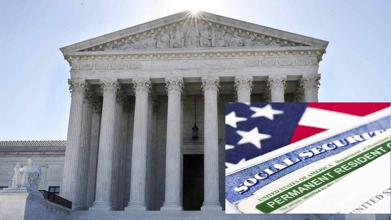 Imagen de archivo de la Corte Suprema. A la derecha, documentos oficiales.