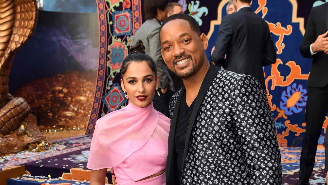 Naomi Scott and Will Smith at the Aladdin premiere