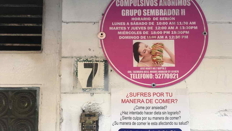 Entrada a la sede de Comedores Compulsivos Anónimos en la Ciudad de México.