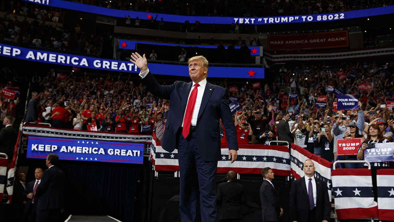 El presidente Donald Trump en el Amway Center, enOrlando, donde lanzó su candidatura a la reelección presidencial para el 2020.