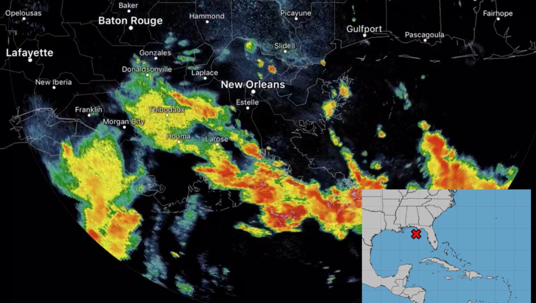 Imagen de radar de precipitaciones en el área de Nueva Orleans. A la derecha, la zona de formación de la tormenta Barry.