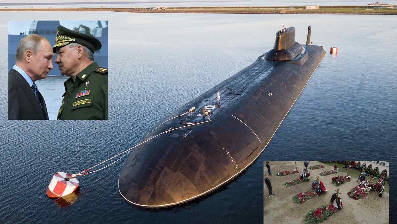 Imagen de archivo de un submarino nuclear ruso. Arriba, Putin con el ministro de Defensa. Abajo, entierro de los marinos muertos.