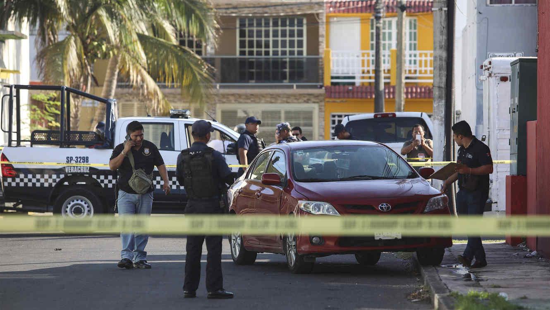 Imagen de la escena del crimen del asesinato del periodista mexicano Marcos Miranda en el estado de Veracruz el 12 de junio de 2019.