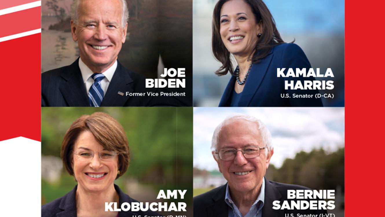 Imagen promocional con cuatro de los cinco participantes del debate entre los demócratas en la conferencia anual de la organización Unidos en San Diego