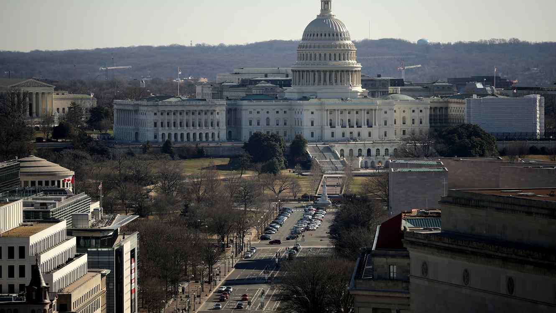 Washington, D.C., visto desde la altura. Al fondo, el Capitolio